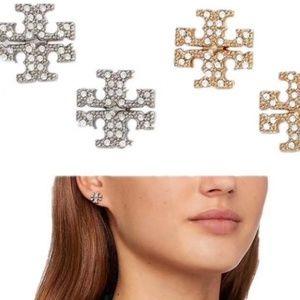 Tory Burch Crystal Silver Logo Stud Earings